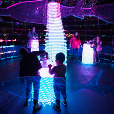 Two children interact with the Revive the Reef interactive artwork at Vivid Sydney.