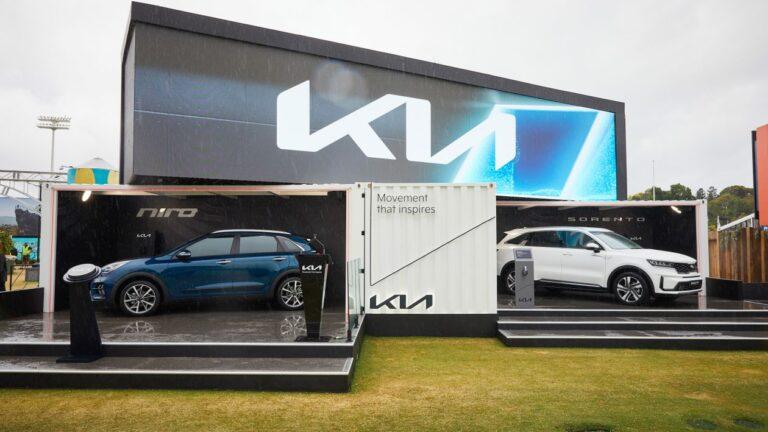 Kia's new logo unveiled at the Australian Open in 2021 on Kia Morphia anamorphic display.