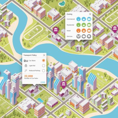 Screenshot from interactive data visualisation tool AECOM Reconnected City shows low-poly virtual sim-city with pop ups explaining data from statistical models.