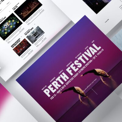 Website designs for digital agency's Perth Festival brand refresh by creative agency S1T2.