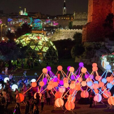 Colourful interactive installation Alzheimer's Affinity shown at the Jerusalem Light Festival in Israel.