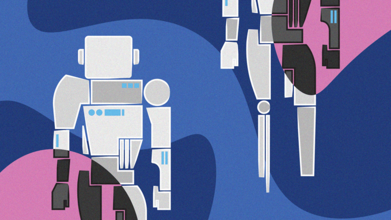 Robot illustration symbolises the AI debate.