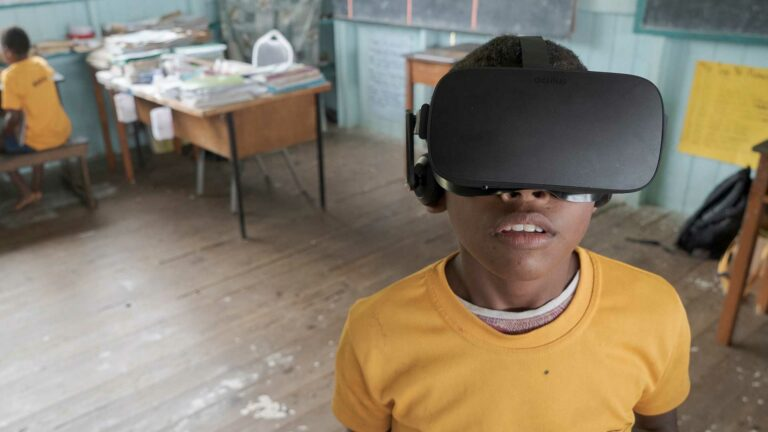 Fijian child experiences Beyond the Stars VR in a classroom in Viti Levu, Fiji.