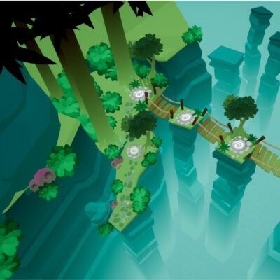 Screenshot of island in mobile game Beyond the Stars from S1T2.