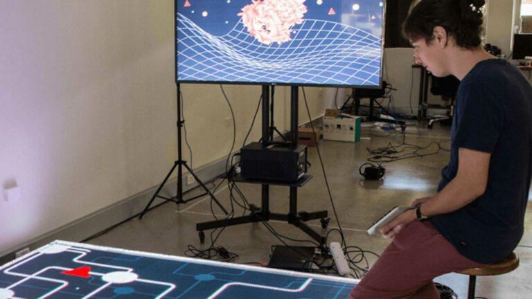 Developer Testing Interactive Floor Technology.