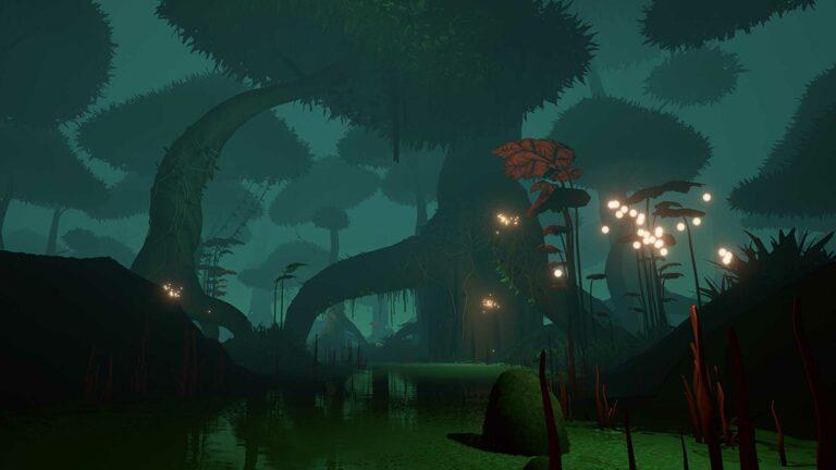 Screenshot of river environment from Kept VR.