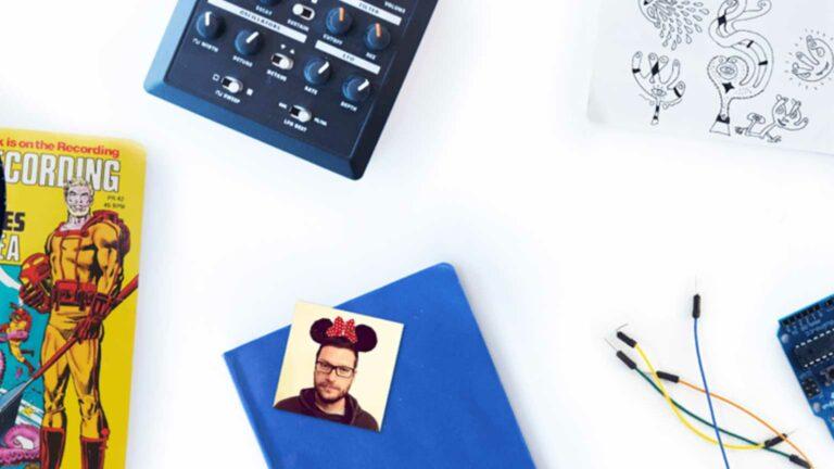 Collage of Laszlo Kiss' creative equipment.