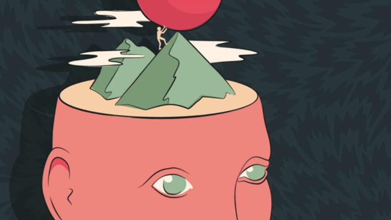 Creative animation of Head with mountain.
