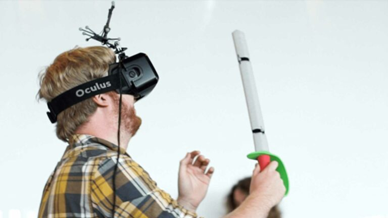 User exploring virtual reality world with a sword.
