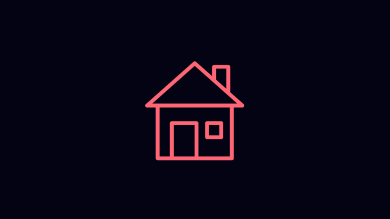 Pink outline of house icon on black background