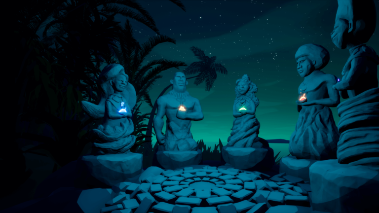 Screenshot of the guardians from the end of S1T2's Beyond the Stars virtual reality experience.