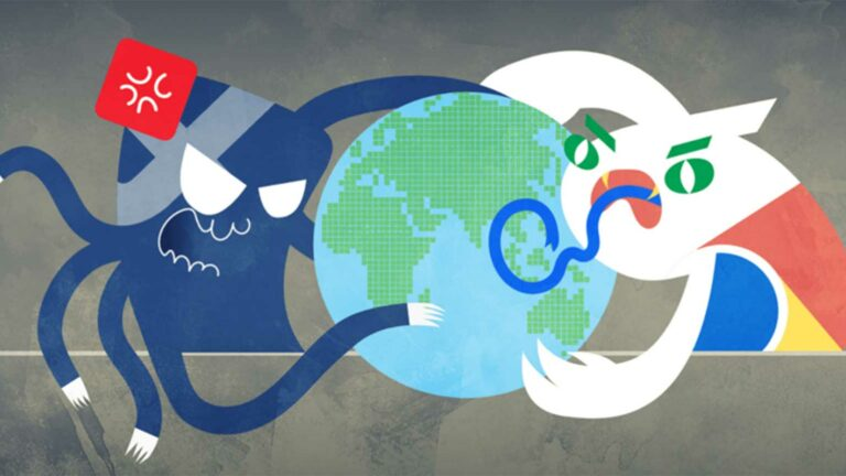 Creative animation of Facebook and Google Monsters fighting.
