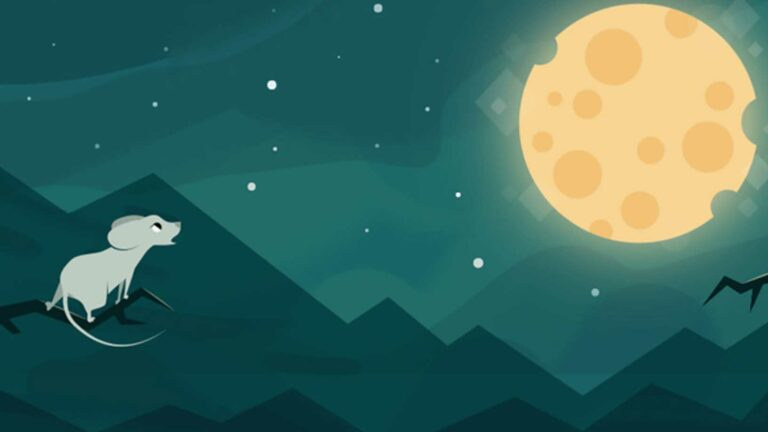 Creative Animation of Mouse looking at the moon.